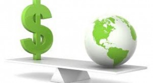 dollar sign and earth